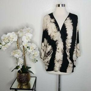 SKY Brand Tie Dye Crochet Butterfly Batwing blouse